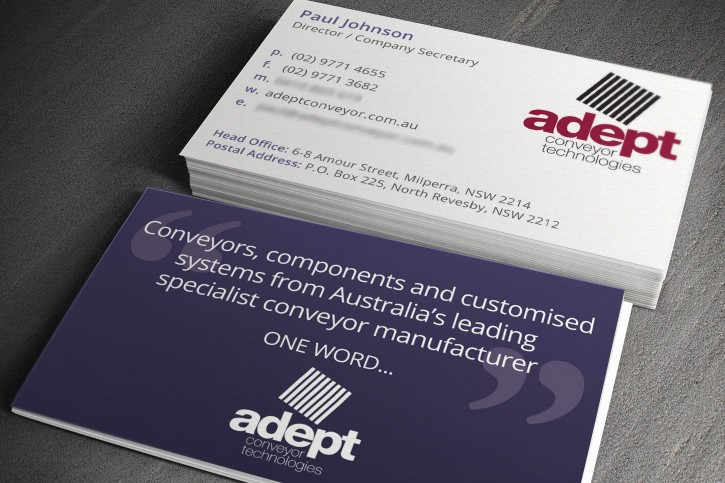 Adept Conveyor business cards
