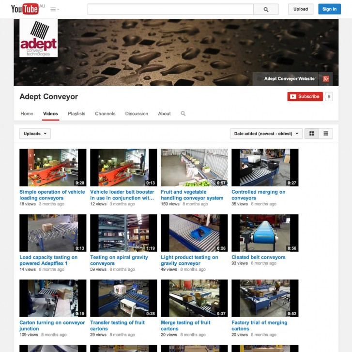 Adept Conveyor YouTube channel