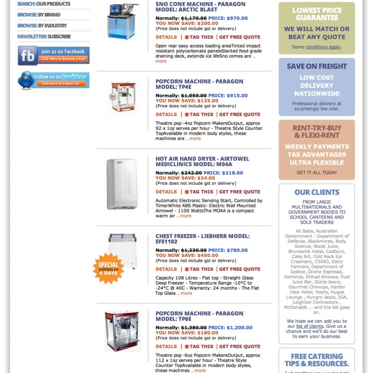 All Food product listing page
