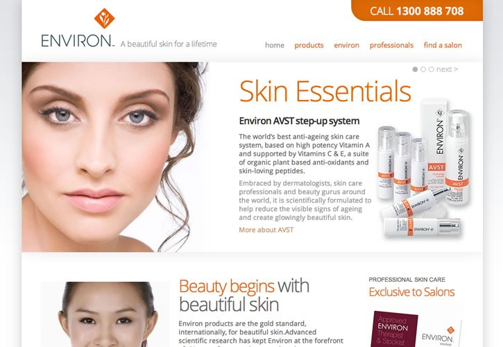 Environ Skin Care Australia website