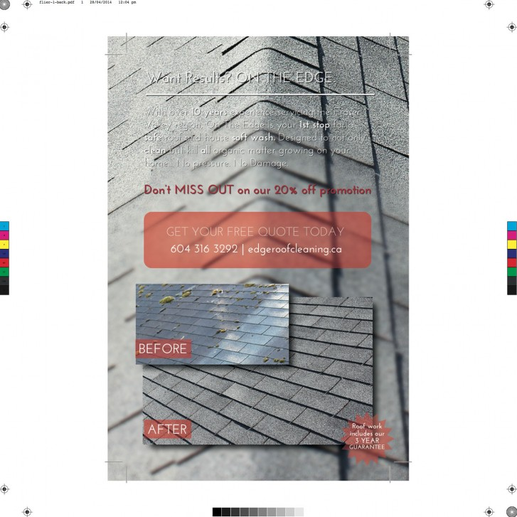 Flyer design (back) for On The Edge