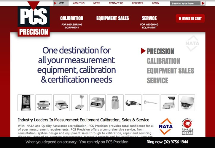 PCS Precision website