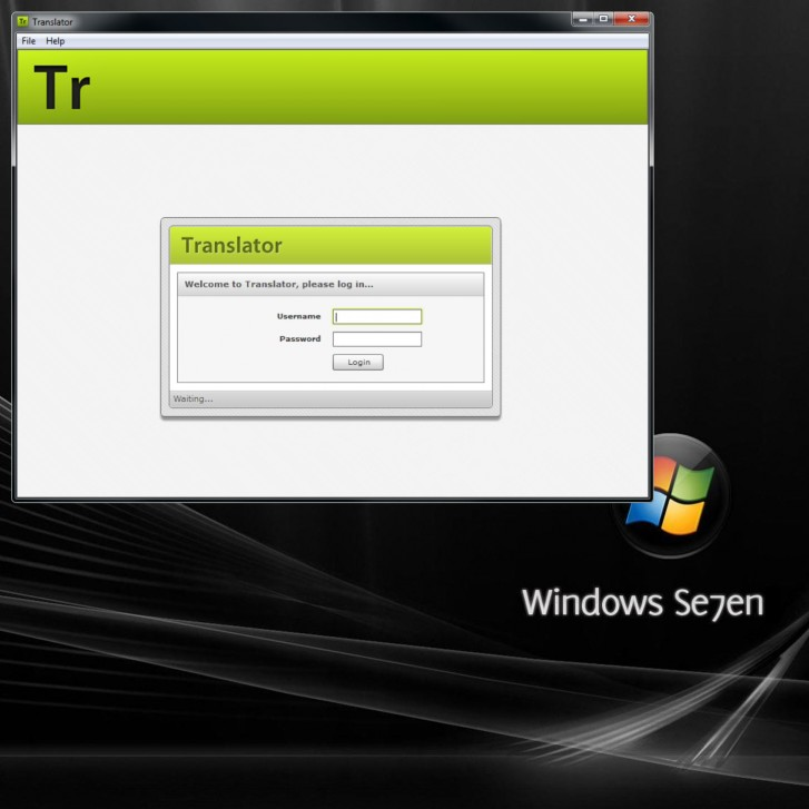 Login screen Windows 7