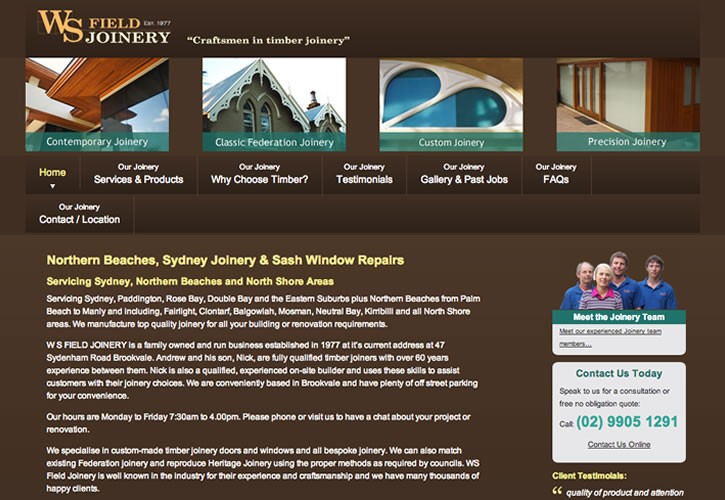 WS Field Joinery website